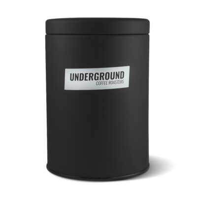 Black air tight coffee canister — Underground Coffee Roasters